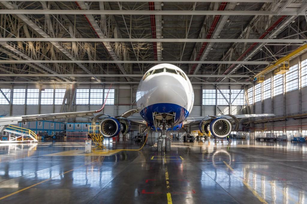 Passenger aircraft in the hangar